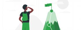 ilustración persona mira meta sobre montaña