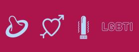 dibujos condón, corazón, vibrador y letras lgtbi