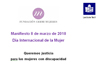 Portada del Manifiesto de Cermi por el Día Internacional de la Mujer 2018 (Lectura Fácil)