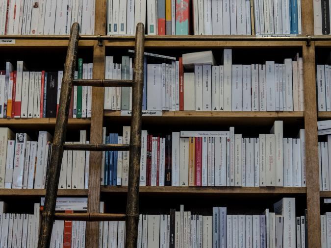 estantería repleta de libros y escalera de madera