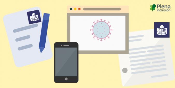 documentos, webs, app, icono virus y lectura fácil