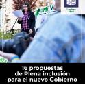 Portada de 16 propuestas  de Plena inclusión para el nuevo Gobierno en lectura fácil