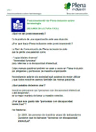 Portada del Posicionamiento de Plena inclusión sobre Terminología